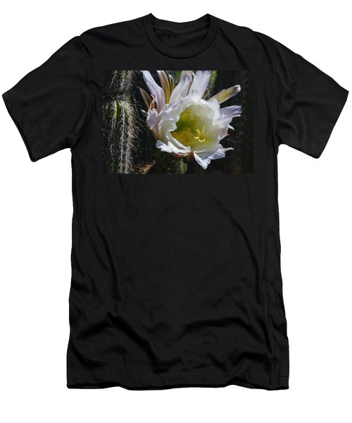 White Cactus Bloom Men's T-Shirt (Athletic Fit)