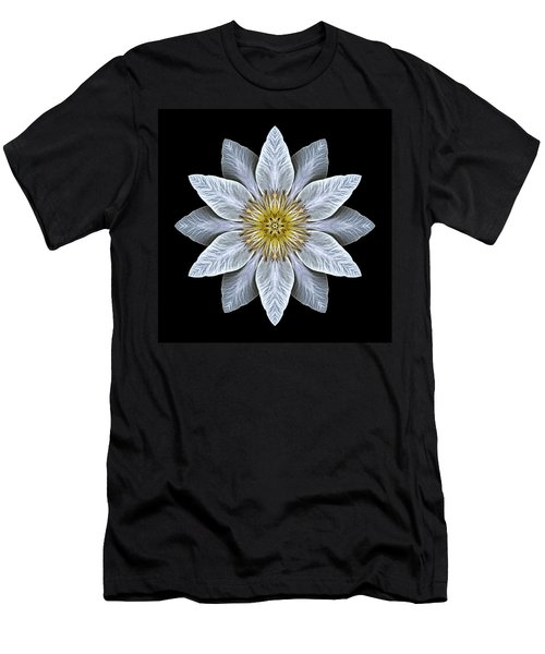 White Clematis Flower Mandala Men's T-Shirt (Athletic Fit)
