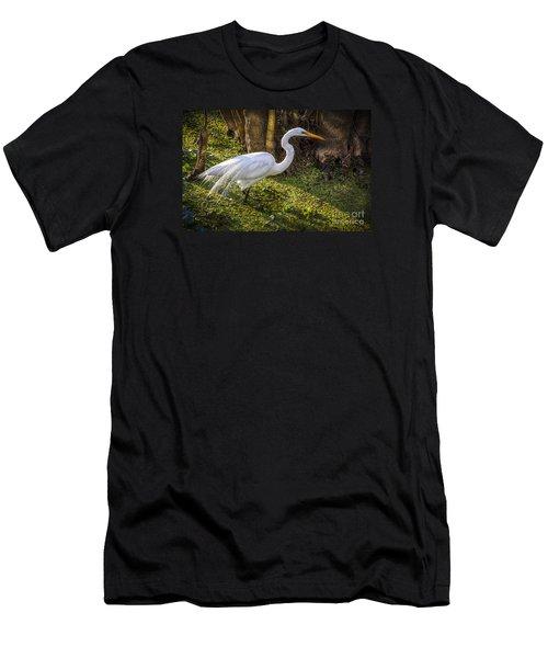 White Egret On The Hunt Men's T-Shirt (Slim Fit) by Marvin Spates