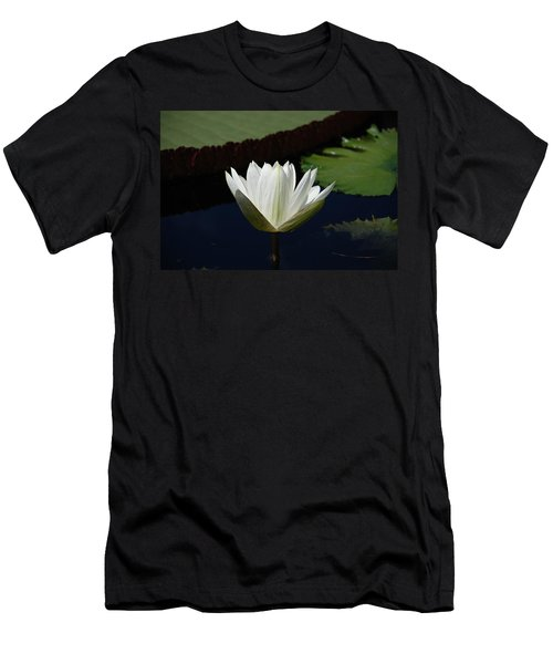 Men's T-Shirt (Slim Fit) featuring the photograph White Flower Growing Out Of Lily Pond by Jennifer Ancker