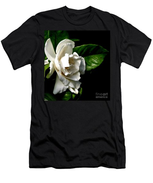 Men's T-Shirt (Slim Fit) featuring the photograph White Gardenia by Rose Santuci-Sofranko