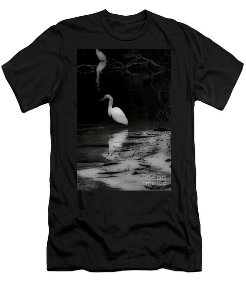 Men's T-Shirt (Slim Fit) featuring the photograph White Heron by Angela DeFrias