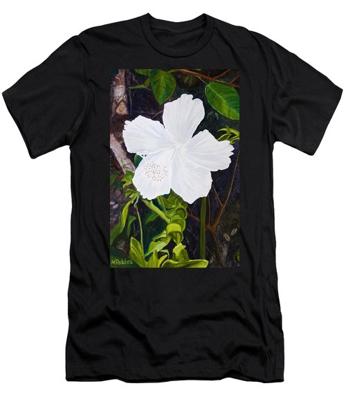 White Hibiscus Men's T-Shirt (Slim Fit) by Mike Robles
