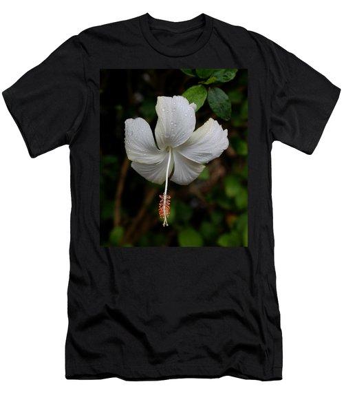 White Hibiscus Men's T-Shirt (Slim Fit) by Pamela Walton