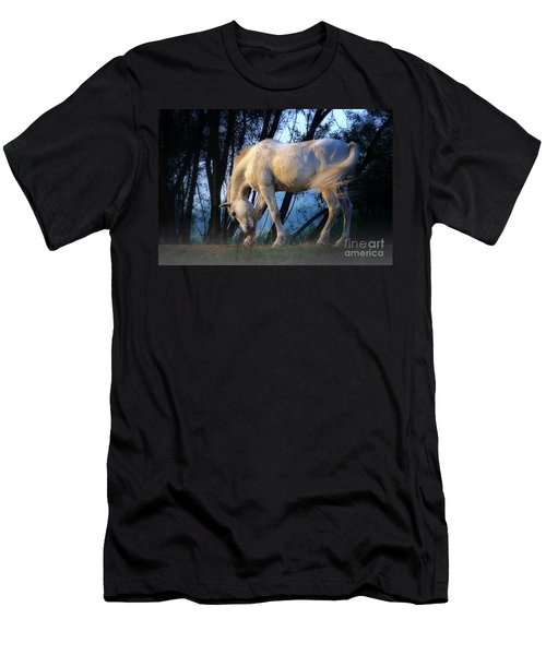 White Horse In The Early Evening Mist Men's T-Shirt (Slim Fit) by Nick  Biemans