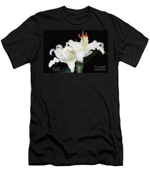 Men's T-Shirt (Slim Fit) featuring the photograph White  Lilies by Jeannie Rhode