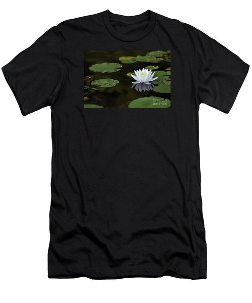 Men's T-Shirt (Slim Fit) featuring the photograph White Lotus Lily Flower And Lily Pad by Glenn Gordon