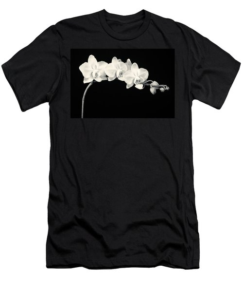 White Orchids Monochrome Men's T-Shirt (Athletic Fit)