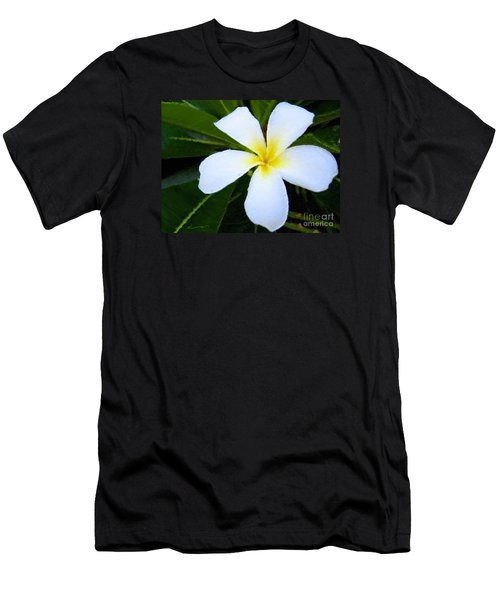 Men's T-Shirt (Slim Fit) featuring the mixed media White Plumeria by Anthony Fishburne