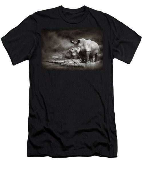 White Rhinoceros Men's T-Shirt (Athletic Fit)