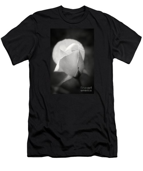 White Rose Moonlight Glow - Black And White Flower Photography Men's T-Shirt (Slim Fit) by Ella Kaye Dickey
