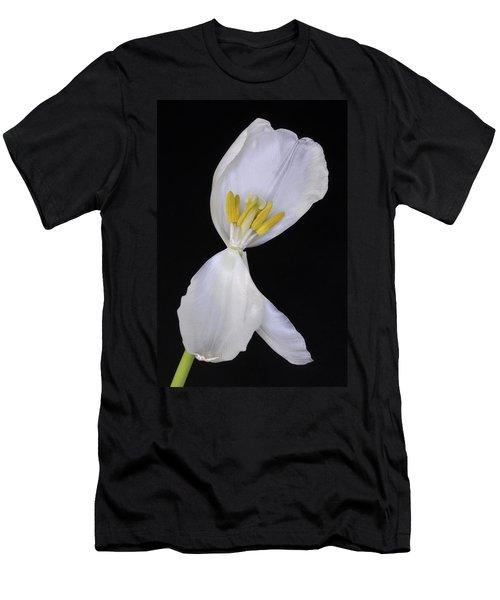 White Tulip On Black Men's T-Shirt (Athletic Fit)