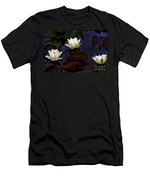 White Water Lilies Men's T-Shirt (Slim Fit) by Nina Ficur Feenan