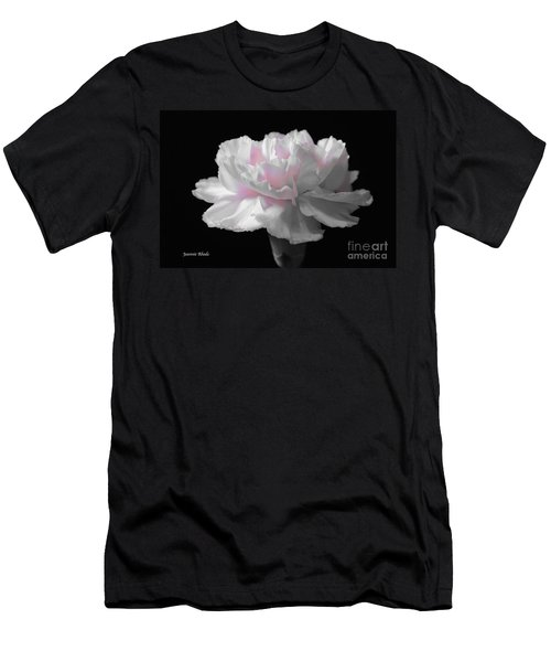 Men's T-Shirt (Slim Fit) featuring the digital art White With Pink Carnation by Jeannie Rhode