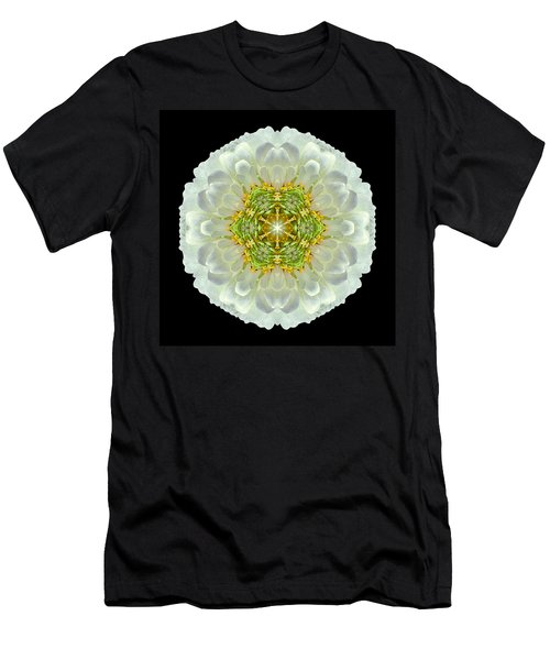 White Zinnia Elegans V Flower Mandala Men's T-Shirt (Athletic Fit)