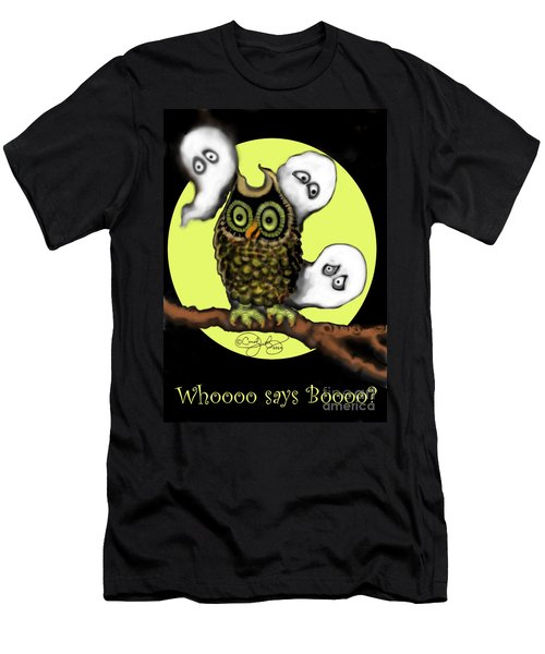 Men's T-Shirt (Slim Fit) featuring the painting Who Says Boo by Carol Jacobs