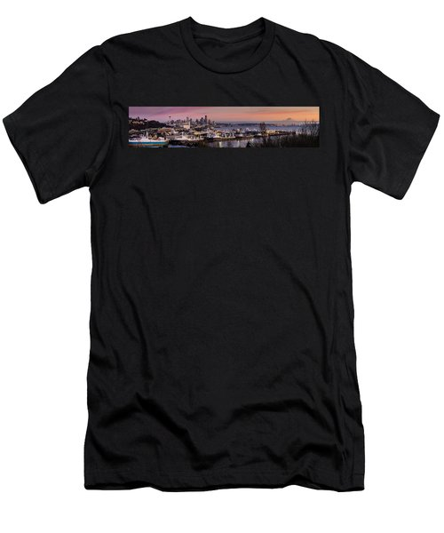 Wider Seattle Skyline And Rainier At Sunset From Magnolia Men's T-Shirt (Slim Fit) by Mike Reid