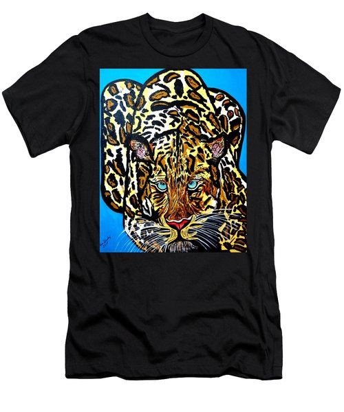 Men's T-Shirt (Slim Fit) featuring the painting Wild Cat by Nora Shepley