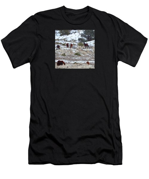 Wild Mustangs In A Nevada Winter Men's T-Shirt (Athletic Fit)