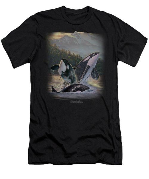 Wildlife - Breaching Orcas Men's T-Shirt (Athletic Fit)