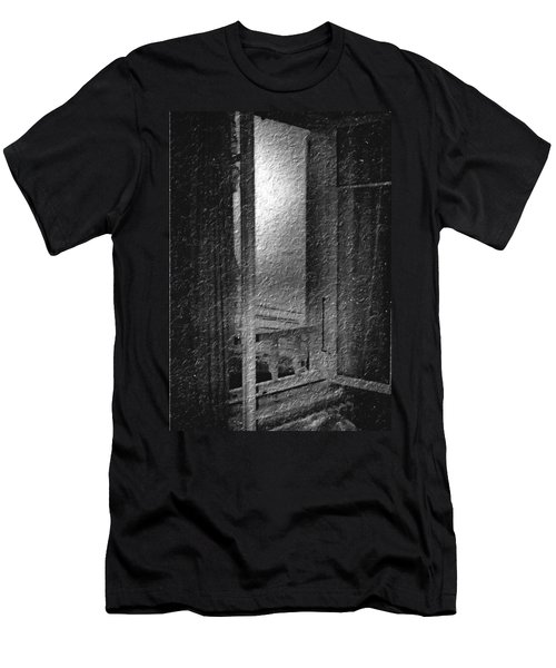 Window Ocean View Black And White Digital Painting Men's T-Shirt (Slim Fit) by Cathy Anderson