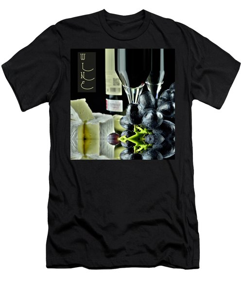 Wine Bottle With Glass Men's T-Shirt (Athletic Fit)