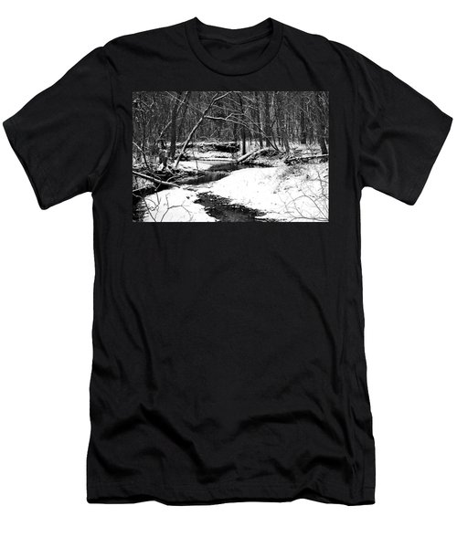 Winter At Pedelo Black And White Men's T-Shirt (Slim Fit) by Deena Stoddard