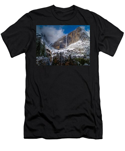 Winter At Yosemite Falls Men's T-Shirt (Slim Fit) by Bill Gallagher