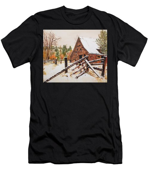 Winter - Barn - Snow In Nevada Men's T-Shirt (Athletic Fit)