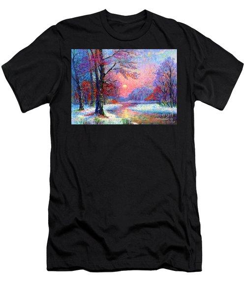 Winter Nightfall, Snow Scene  Men's T-Shirt (Athletic Fit)