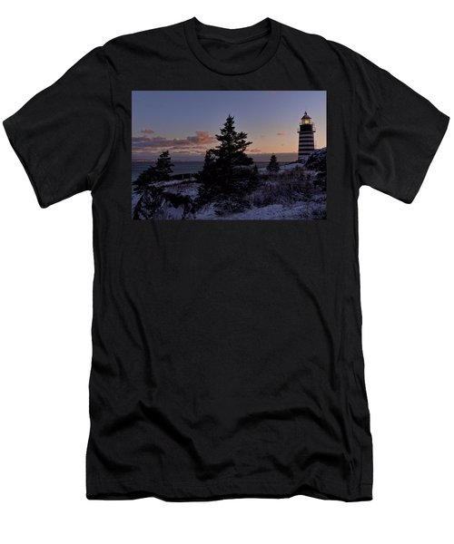 Winter Sentinel Lighthouse Men's T-Shirt (Athletic Fit)