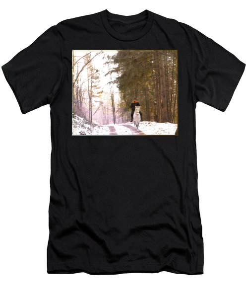 Wintertime Moment-the Chemistry Between Horse And Rider Men's T-Shirt (Athletic Fit)