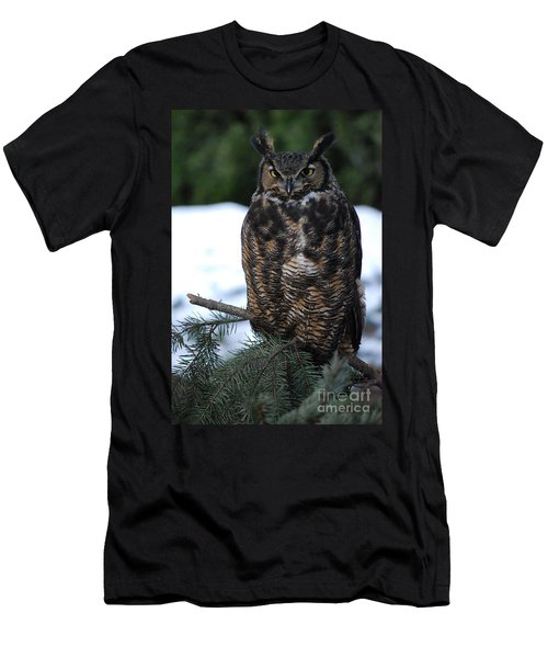 Men's T-Shirt (Slim Fit) featuring the photograph Wise Old Owl by Sharon Elliott