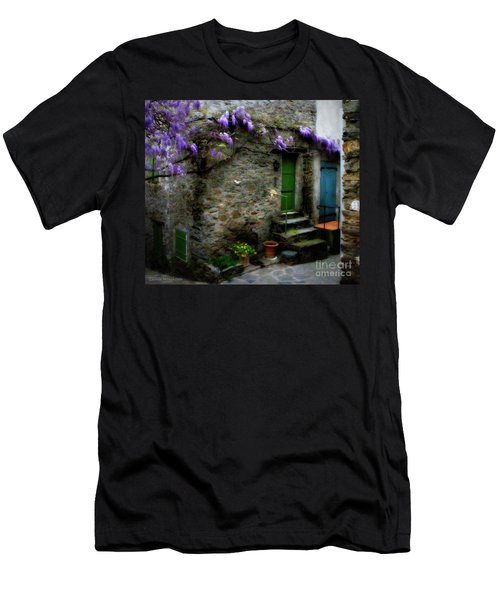Wisteria On Stone House Men's T-Shirt (Athletic Fit)