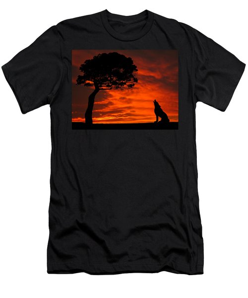 Wolf Calling For Mate Sunset Silhouette Series Men's T-Shirt (Athletic Fit)
