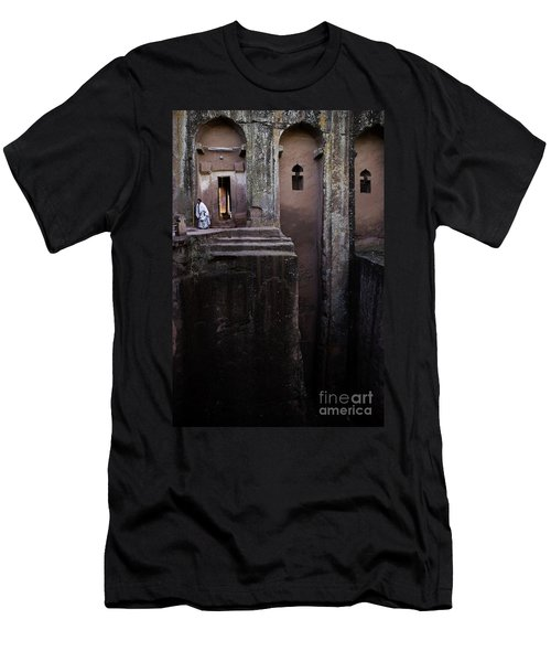 Woman In Lalibella Ethiopia Rock African Coptic Churches Men's T-Shirt (Athletic Fit)