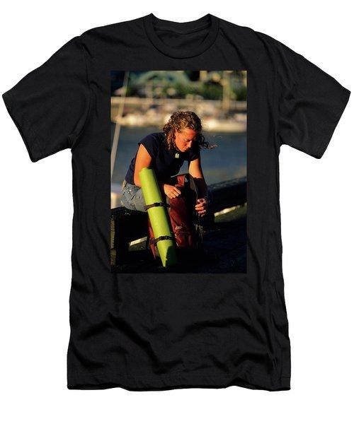 Woman Sitting On Warf At Public Market Men's T-Shirt (Athletic Fit)