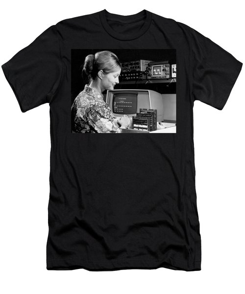 Woman Testing A Microcomputer Men's T-Shirt (Athletic Fit)