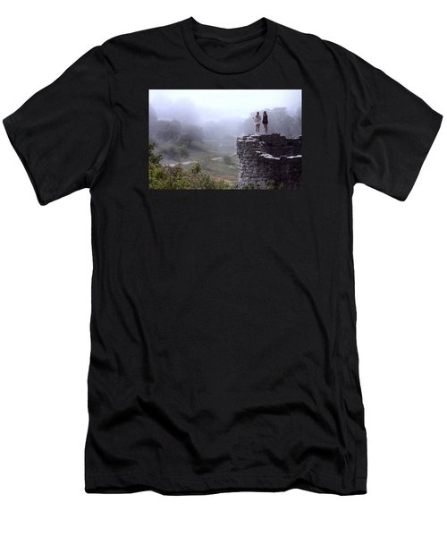 Women Overlooking Bright Foggy Valley Men's T-Shirt (Athletic Fit)