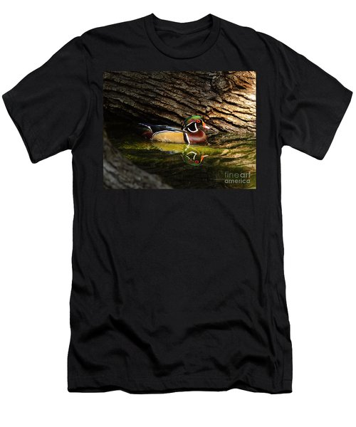 Wood Duck In Wood Men's T-Shirt (Athletic Fit)
