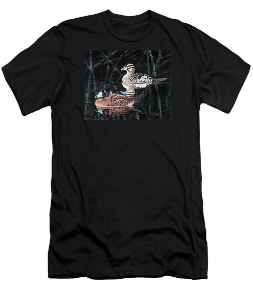 Men's T-Shirt (Slim Fit) featuring the painting Wood Ducks Study by Donna Tucker