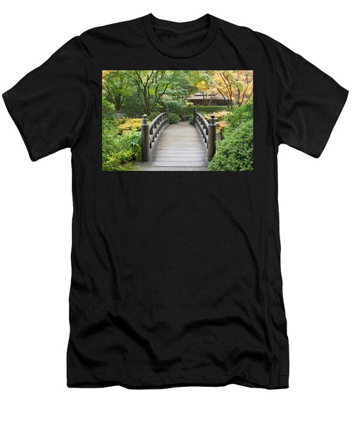 Men's T-Shirt (Slim Fit) featuring the photograph Wooden Foot Bridge In Japanese Garden by JPLDesigns