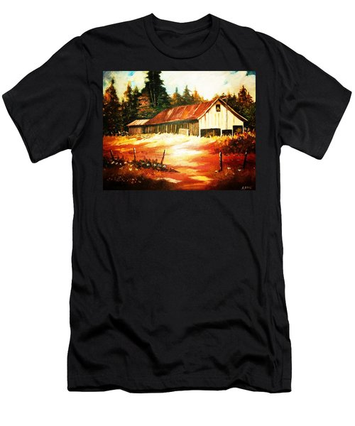 Woodland Barn In Autumn Men's T-Shirt (Slim Fit) by Al Brown