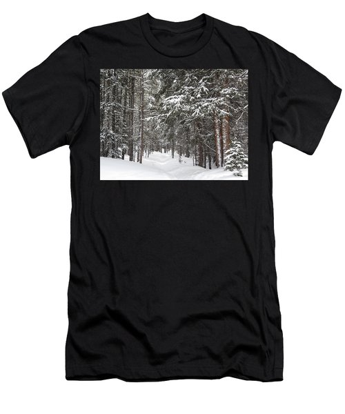 Woods In Winter Men's T-Shirt (Slim Fit) by Eric Glaser