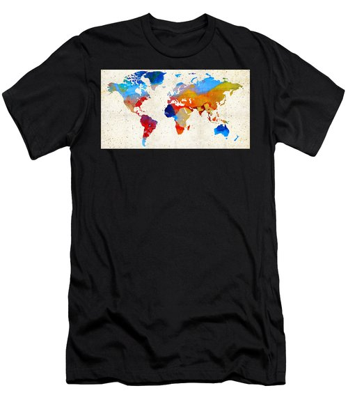 World Map 18 - Colorful Art By Sharon Cummings Men's T-Shirt (Athletic Fit)