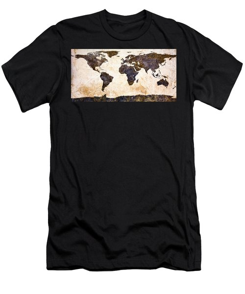 World Map Abstract Men's T-Shirt (Athletic Fit)