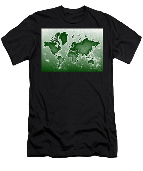 World Map Novo In Green Men's T-Shirt (Slim Fit) by Eleven Corners
