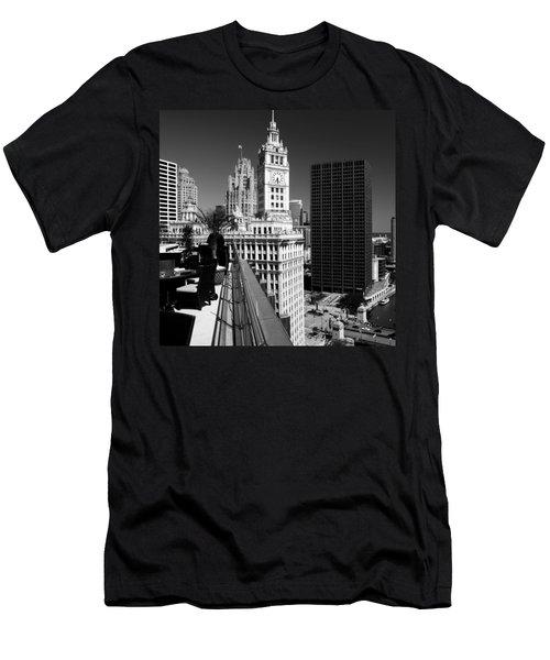 Wrigley Clock Tower Skyline Black White Men's T-Shirt (Athletic Fit)