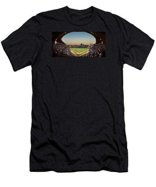 Wrigley Field Night Game Chicago Men's T-Shirt (Slim Fit) by Steve Gadomski