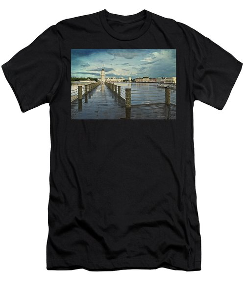 Yacht And Beach Lighthouse Disney World Textured Sky Men's T-Shirt (Athletic Fit)